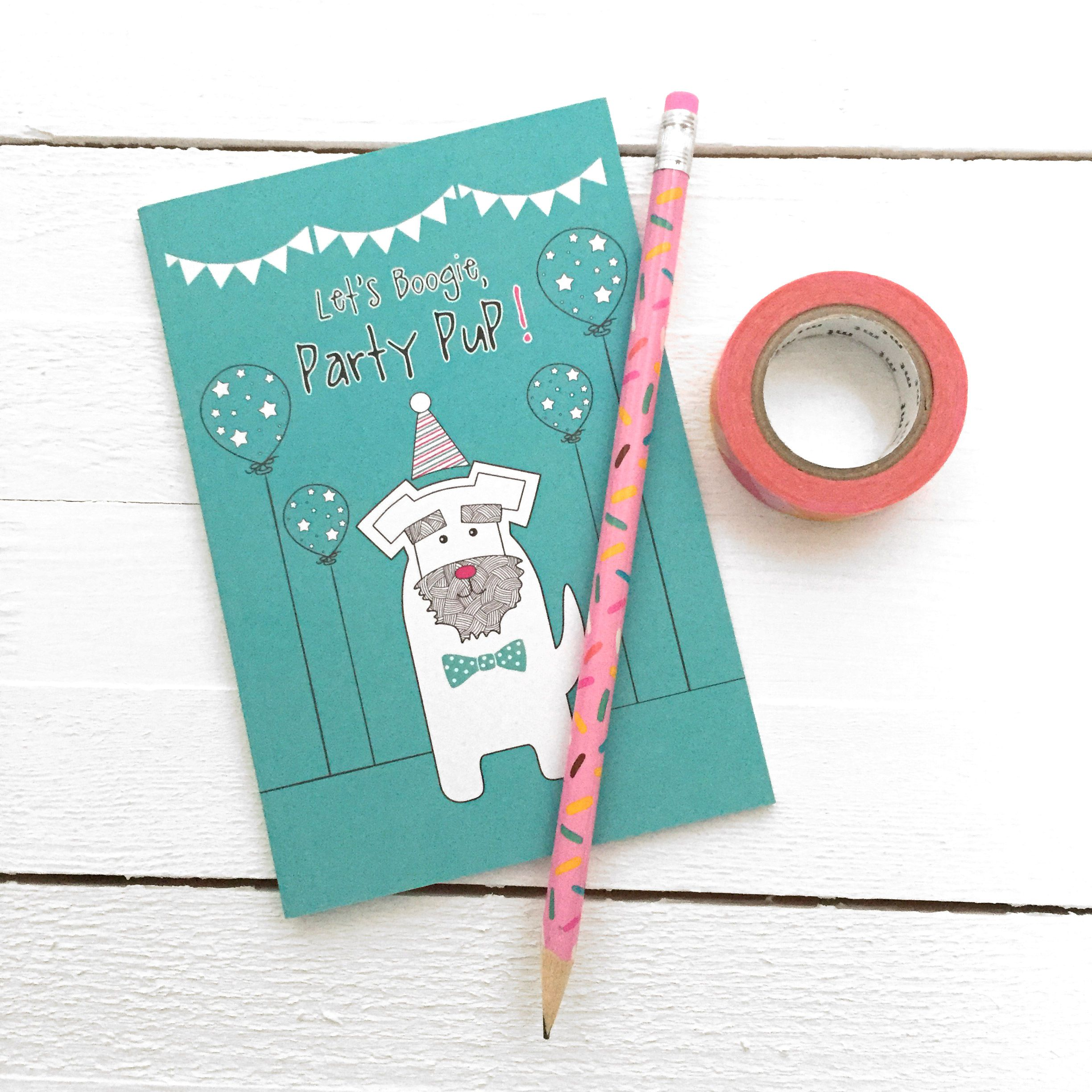 This incredibly cute dog notebook is printed in the UK on recycled paper and comes with plain pages, ready to capture your notes, doodles and daydreams. Each notebook is protected in a cellophane sleeve and will be delivered in a bubble protective mailer.