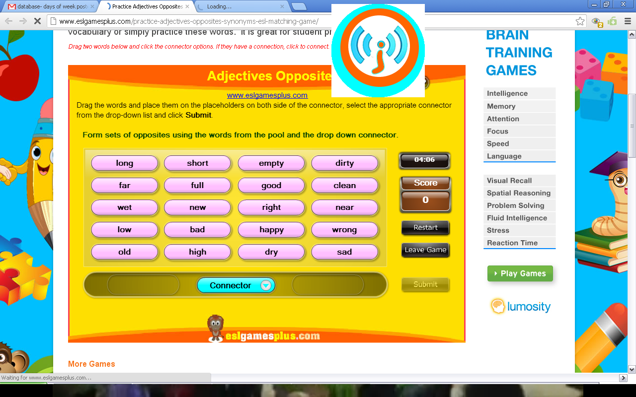 Very Simple Online Game Choose An Adjective And Match The