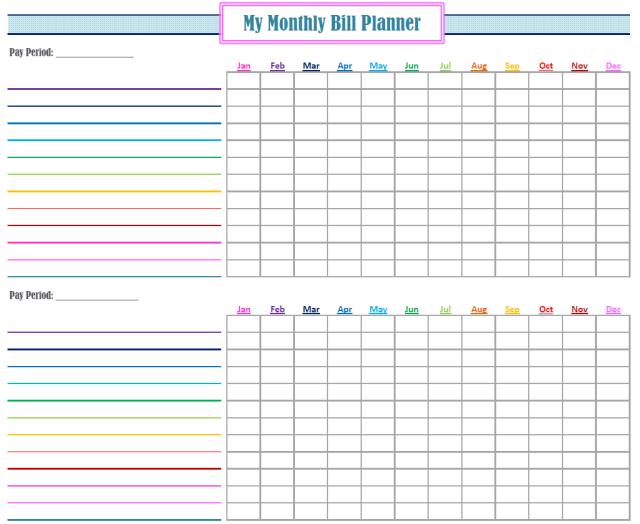 Printable Bill Calendar Free Download F K Bills Pinterest