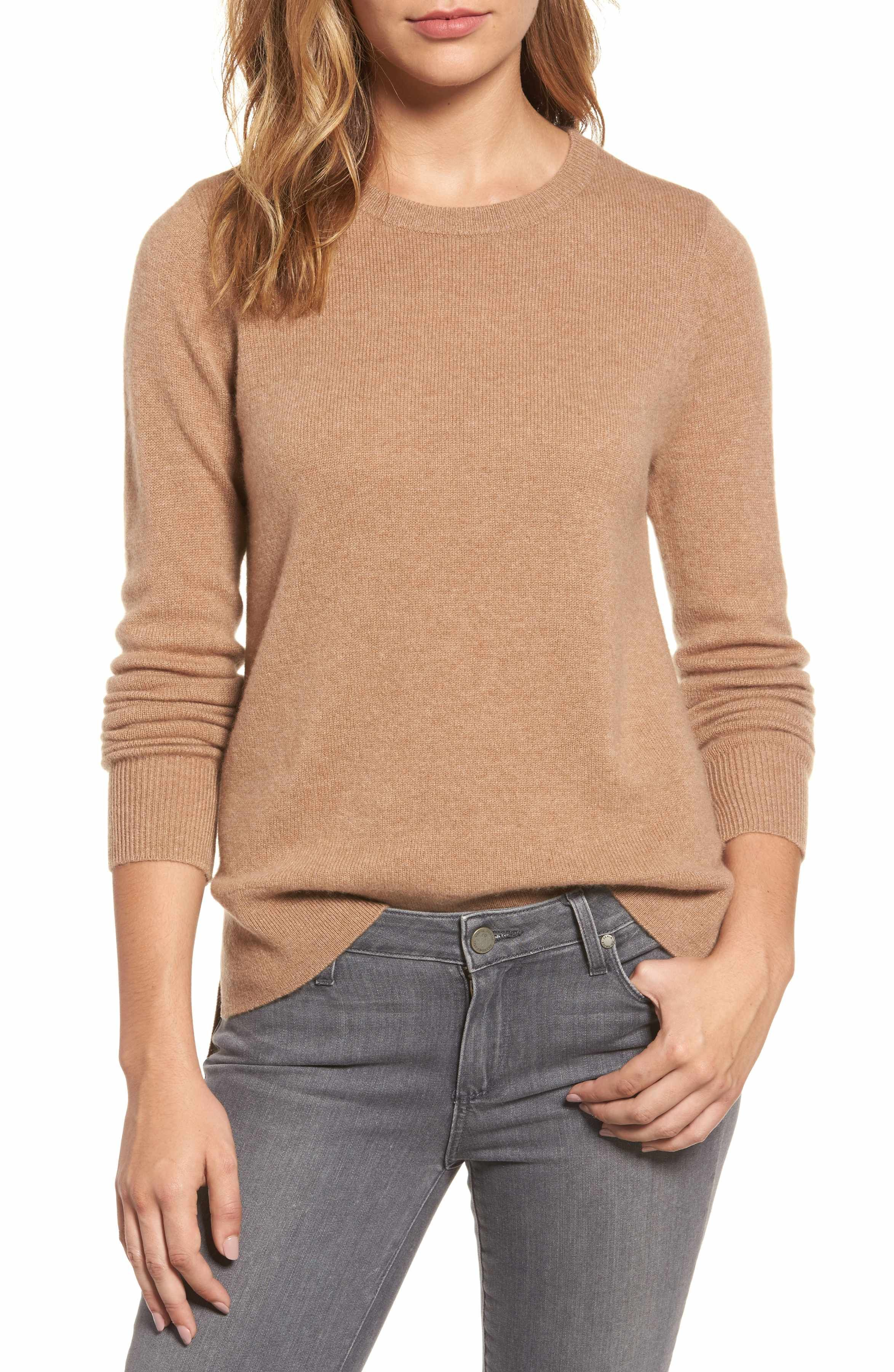 2decd2bd9c Main Image - Halogen® Crewneck Cashmere Sweater (Regular   Petite ...