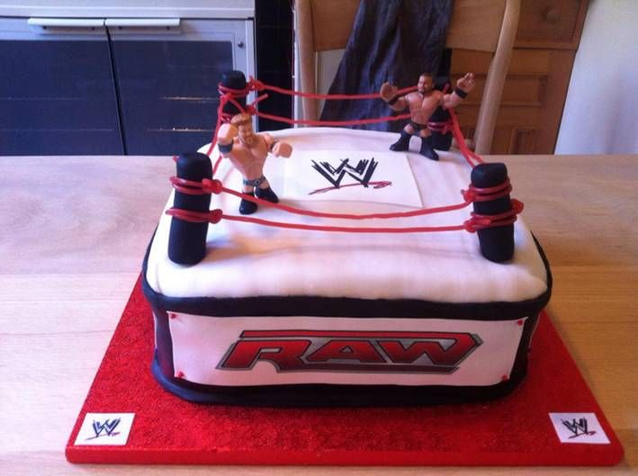 WWE EDIBLE ICING CAKE TOPPER WITH SIDES A4 SIZE KIT WRESTLING RING