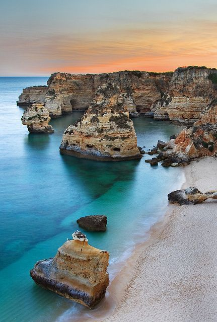 Seascape of Marinha beach in Algarve #portugal