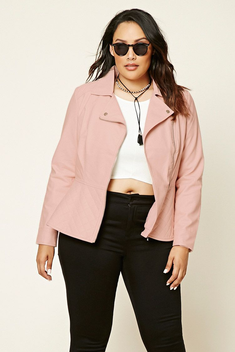Forever 21 A Faux Leather Jacket Featuring An Asymmetrical Zippered Front Long Zippered Sleeves And A Qu Plus Size Outerwear Clothes Peplum Leather Jacket [ 1125 x 750 Pixel ]