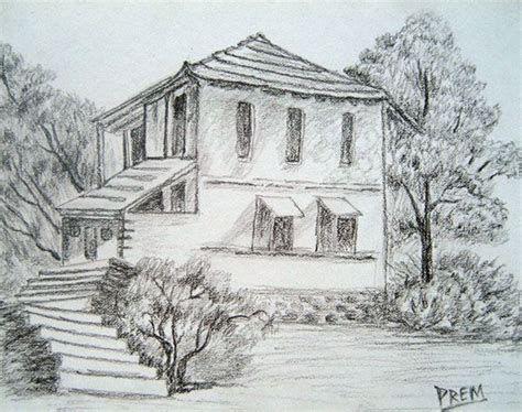 Scenery Pencil Draw Drawing Art Ideas Cabin Pencil Drawings In