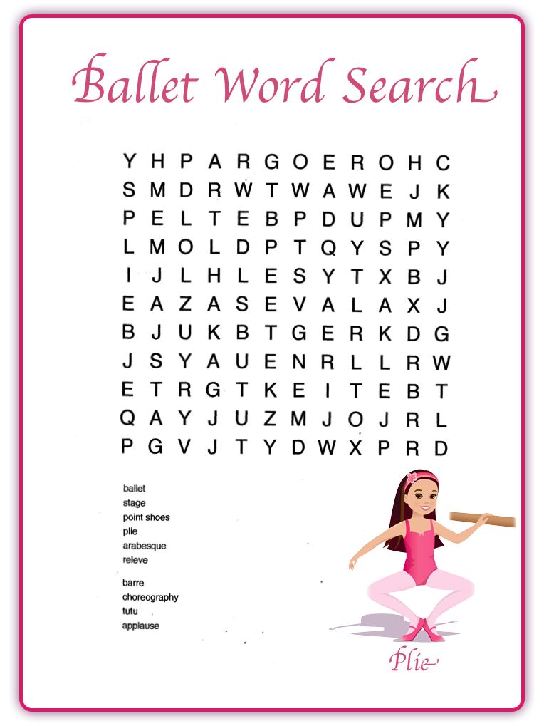 Ballet Word Search Kids Parties Word Search Words