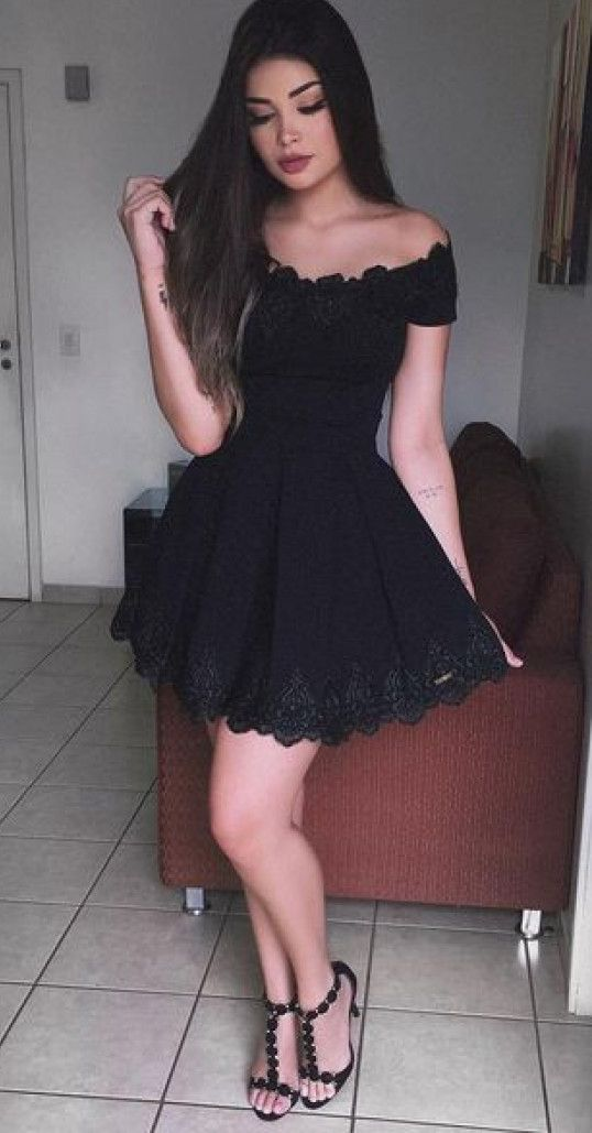 A-Line Off-the-Shoulder Short Sleeves Black Lace Homecoming Dress ...