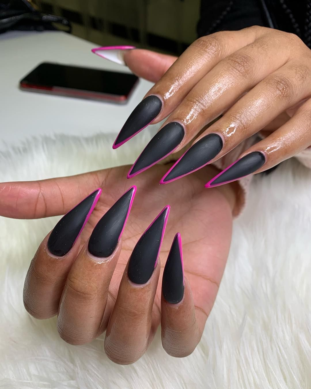 Clawed Nail Lounge By Ashley V On Instagram Matte Black With A Girly Touch Clawed Cl Acrylic Nails Stiletto White Stiletto Nails Matte Black Nails