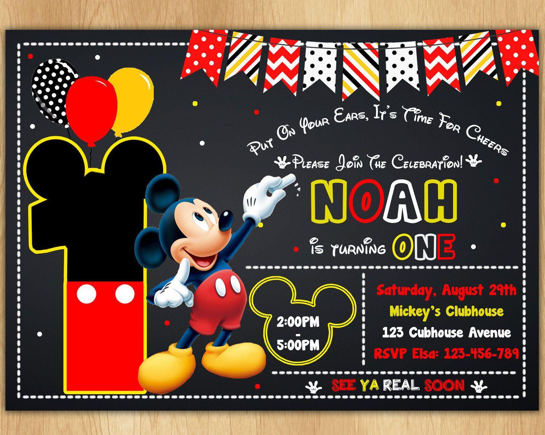 Invitación De Mickey Mouse Mickey Invitar Invitación De