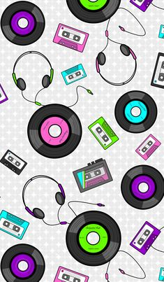 American Hippie Art Retro Music Wallpaper Pattern