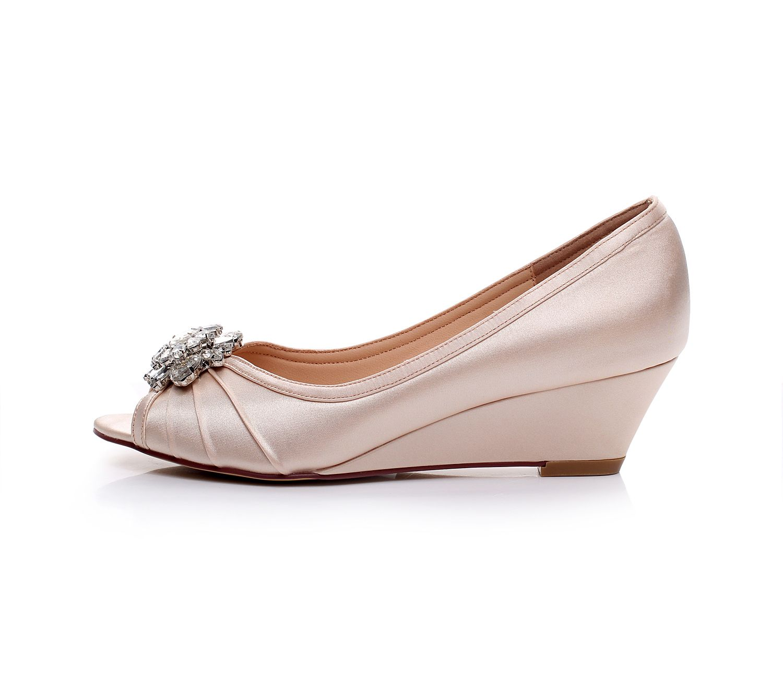Satin Wedding Shoes Bridal Shoes Comfortable Wedge Shoes Unique Design Wedge  Shoes For Wedding Bride Peep