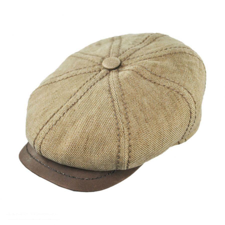 Linen and Leather Newsboy Cap  2c9407d4fff