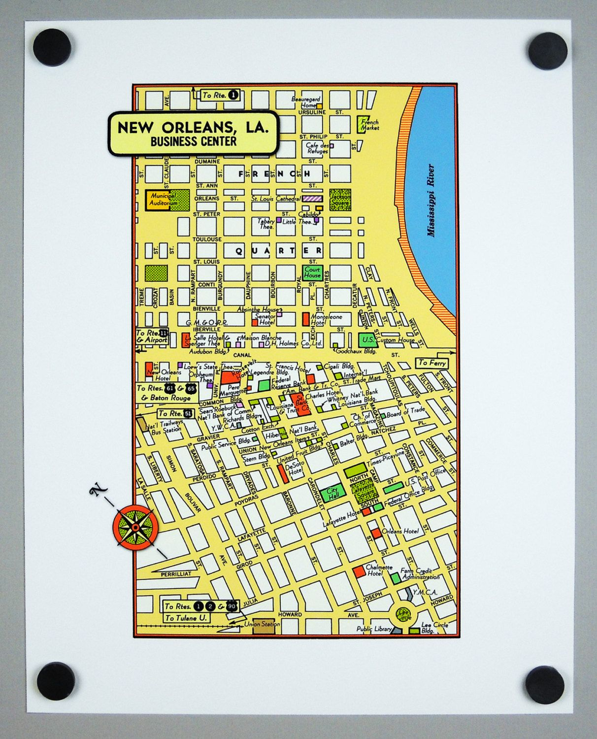 photo about French Quarter Map Printable identify Clean Orleans Louisiana Archival Print Giclee 1950 Common Map