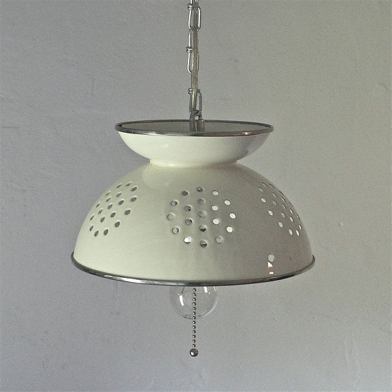 Vintage colander hanging light by thebluecabinet on etsy 70 00