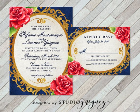 beauty and the beast fairy tale printable wedding invitation - Beauty And The Beast Wedding Invitations