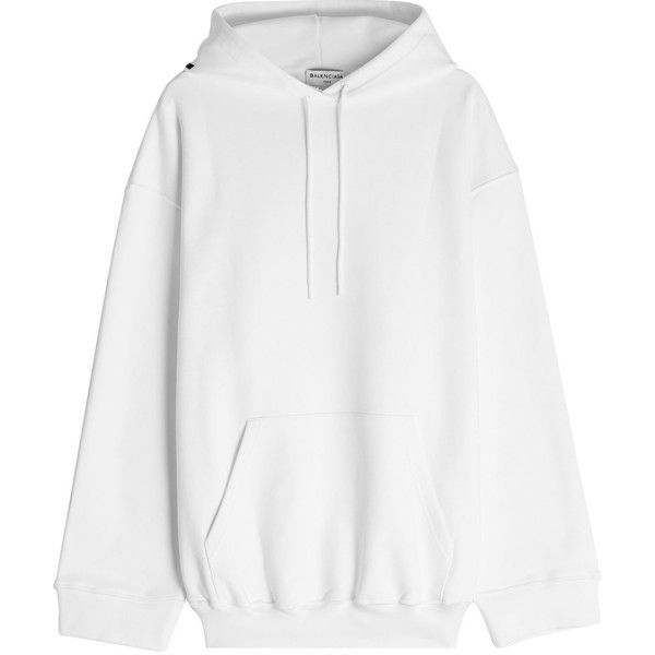 1223813f8d71 Balenciaga Printed Cotton Hoodie ($700) ❤ liked on Polyvore featuring tops,  hoodies, white, white cotton tops, white cotton hoodie, white hooded  sweatshirt ...