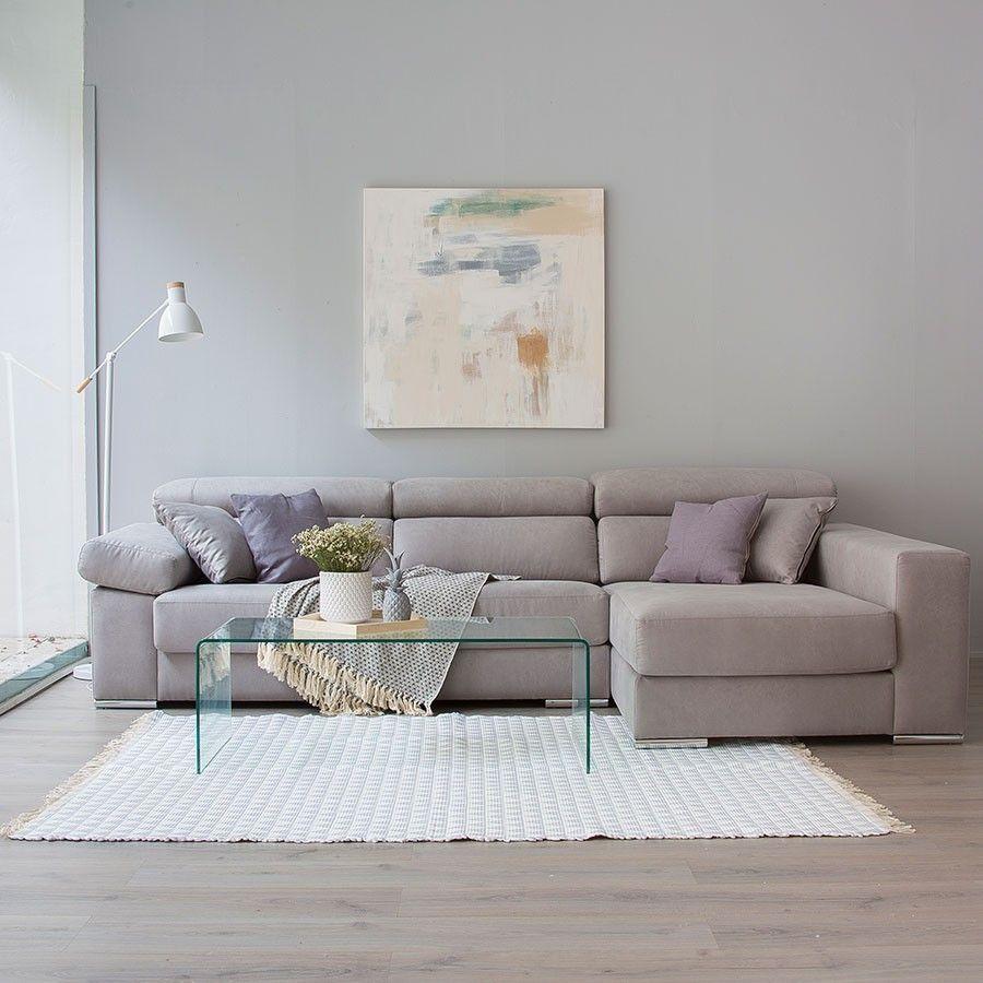 sofá con chaise longue XXL tapizado en beige | sofas | Pinterest ...