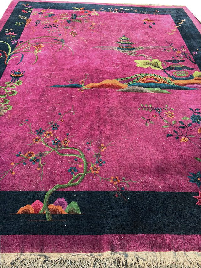 A Marvelous Antique 9  x 12  Chinese Art Deco Rug