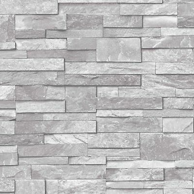 3d Slate Stone Brick Effect Wallpaper Washable Vinyl Stone Sand Grey Ebay In 2020 Brick Effect Wallpaper Stone Wallpaper Brick Wallpaper