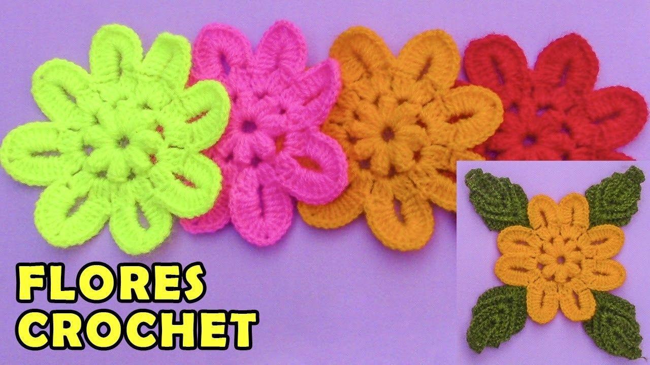 Flores tejidas a crochet para aplicaciones en gorros, boinas y tapetes