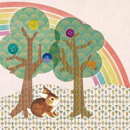 Geboortekaartje Mette - leif kaartje met een retro collage landschapje met konijntje - www.petitkonijn.nl