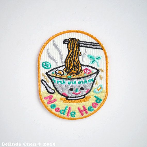 Noodle Head Patch is 6 x 7.5 cm It is super cool, colorful and perfect for someone who is crazy about all kind of noodles! When dispatched, the patch