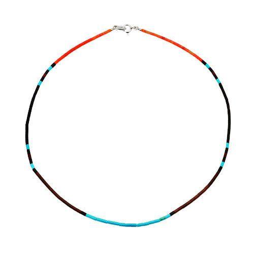 Collier Heishy, perles cylindriques multicolores | Harpo Paris #nativeamerican #collierturquoise #navajo #pueblo #zuni