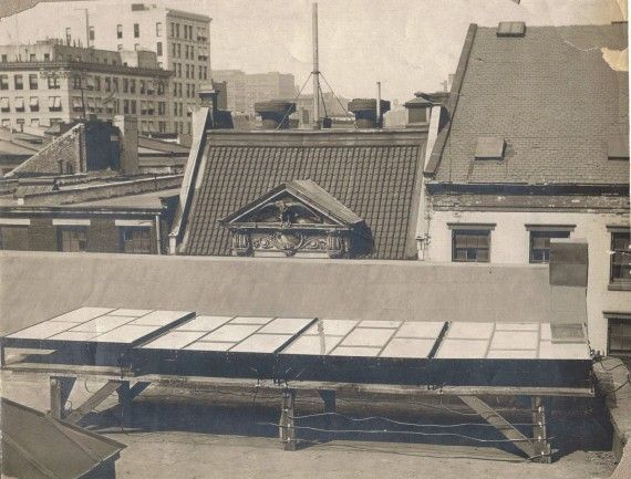 The First Solar Array 1884 Installed On A New York City Rooftop By Charles Fritts Solar Photovoltaic Solar Panels