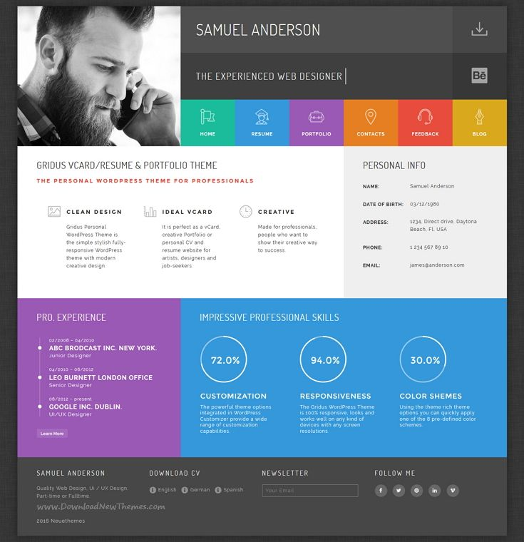 Resume Portfolio & CV vCard - Gridus | Wordpress template, Wordpress ...