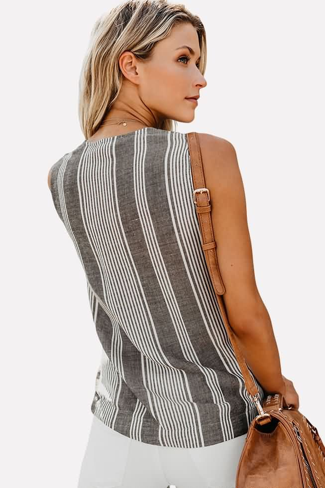 6852df94581486 Women Gray Striped Wrap Knotted Sleeveless Casual Blouse - S in 2019 ...