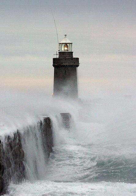Lighthouse at St. Peter's Port Breakwater, Guernsey, Channel Islands, England