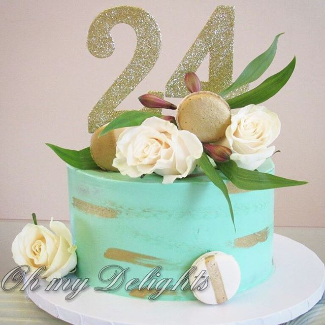 Chocolate Mocha Cake With A Turquoise Gold And White Theme For A
