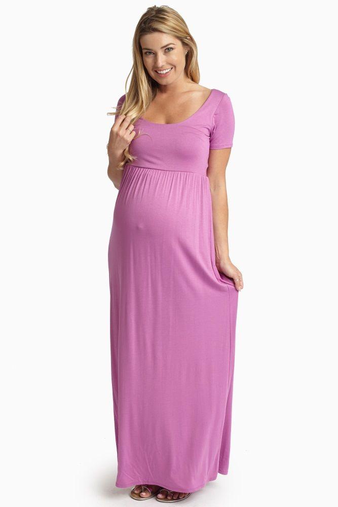 98cffeb266af4 Lavender Solid Short Sleeve Maternity Maxi Dress   Pink Blush ...