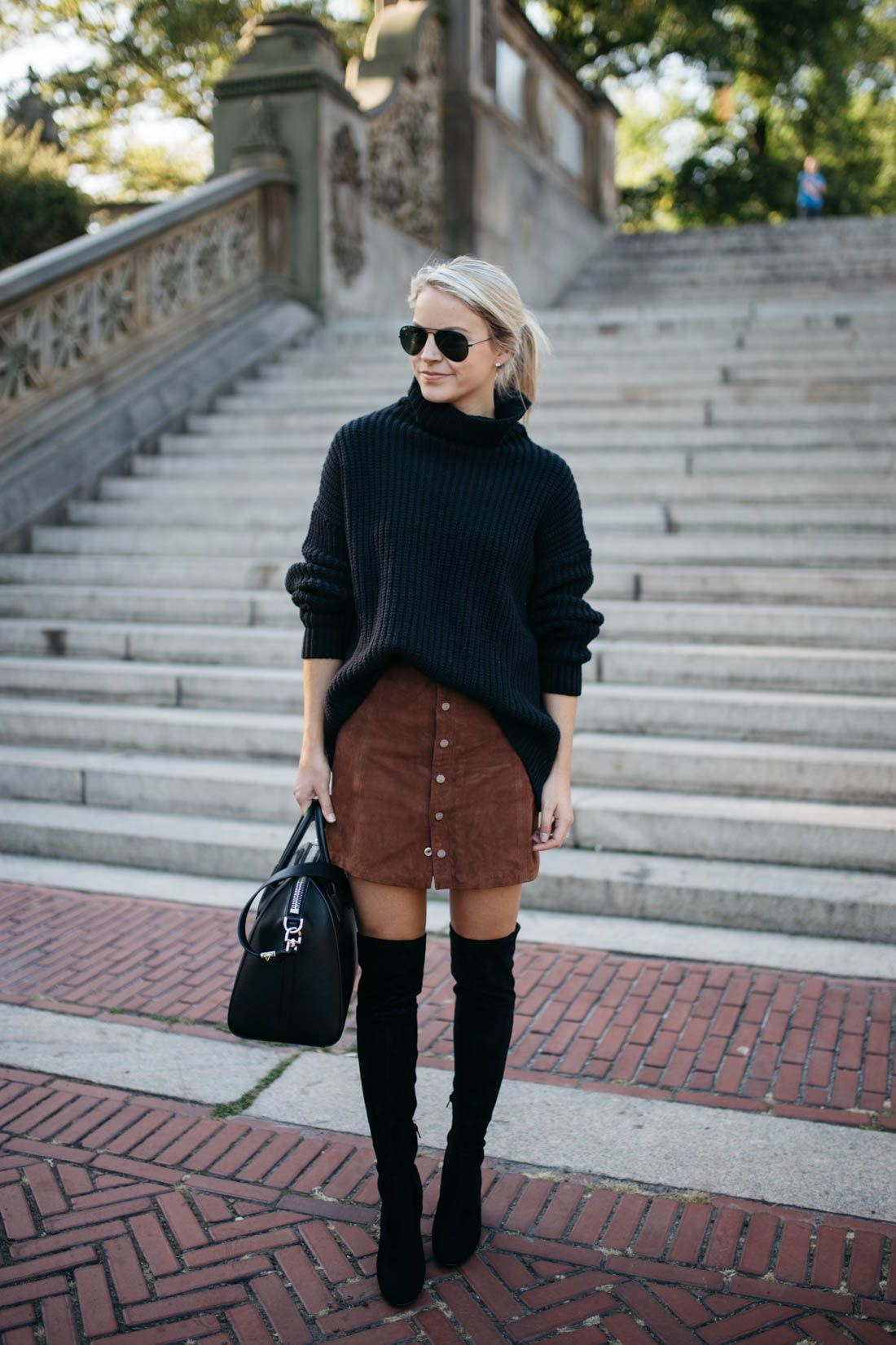 over the knee boots + chunky Sweater + suede skirt # fallfashion
