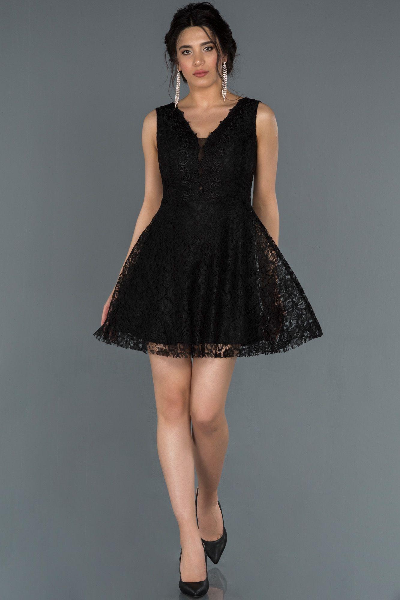 Siyah Kisa Dantelli Davet Elbisesi Abk781 2020 Elbise Modelleri The Dress Elbise
