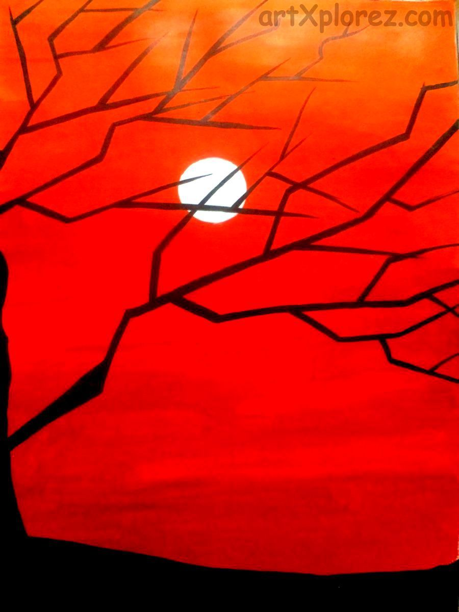 edge of darkness nature acrylic painting