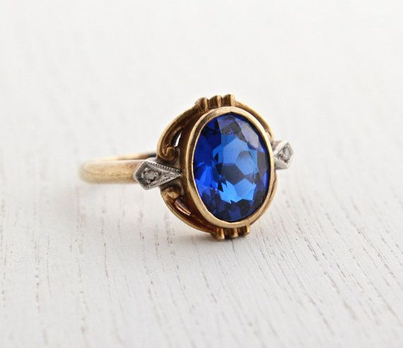 Antique 10k Yellow Gold Sapphire Blue Stone Ring Art Deco Size 6 1 2 Vintage Fine Jewelry Deep Unique Sapphire Rings Expensive Jewelry Jewelry