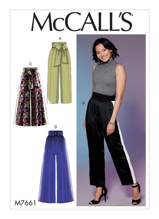 Mccall S High Waisted Wide Leg Pants Sewing Pattern M766 Misses