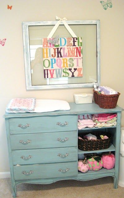 open shelving for a changing table/buffet ...and I like the alpha canvas
