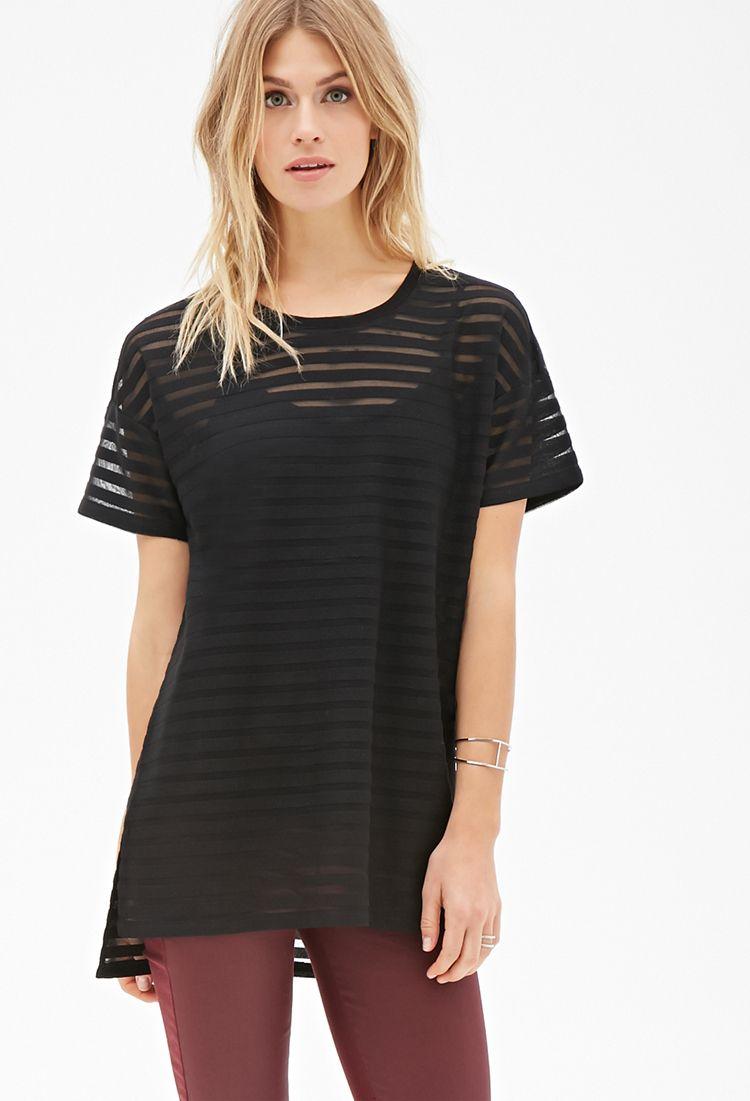 c0cee37c2b Mesh detail stripe tshirt £12. Shadow Stripe Longline Top