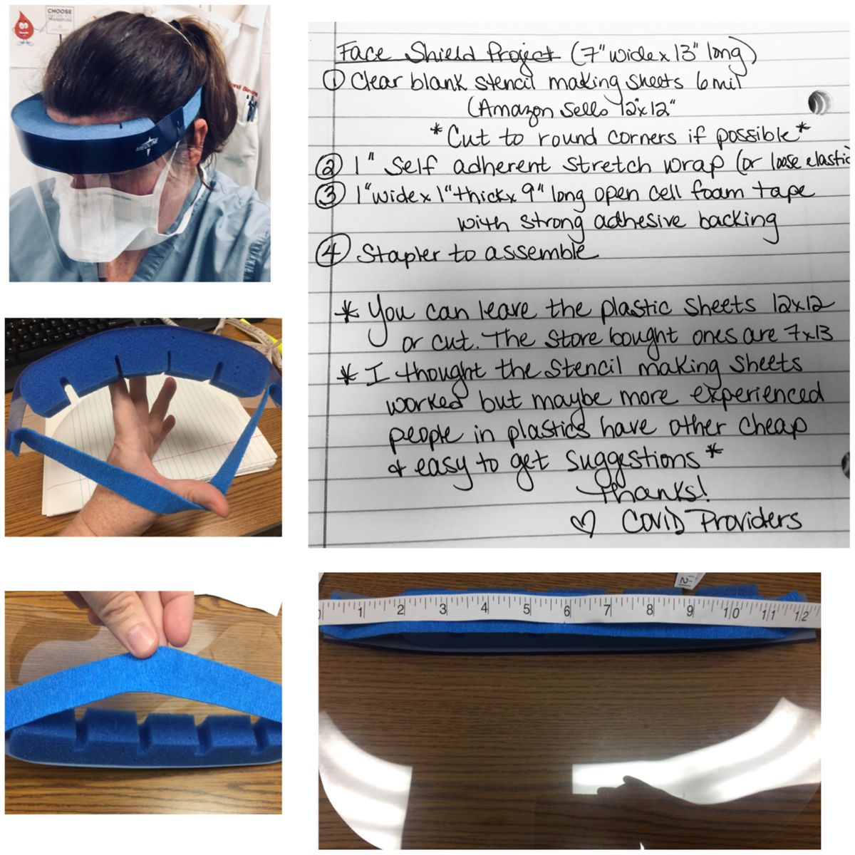 DIY face shield to prevent against splashes into the face