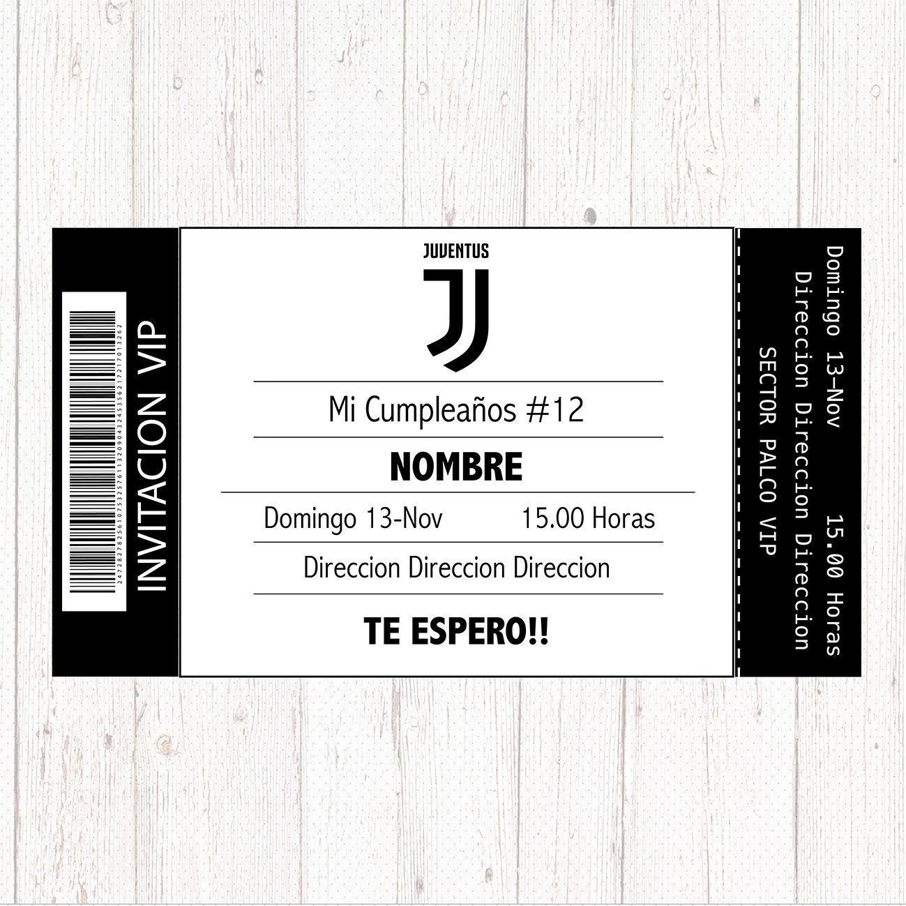 Invitación Cumpleaños Juventus Juventus Cumple