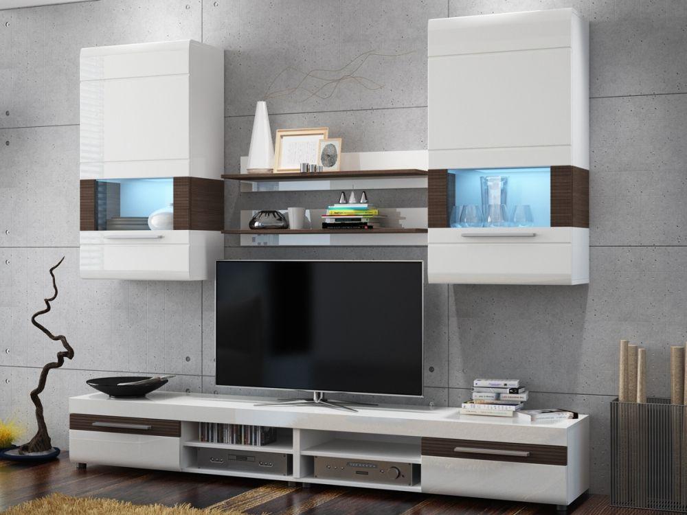 BASTIAN Wohnwand / Anbauwand weiss/grau Wohnzimmer Pinterest