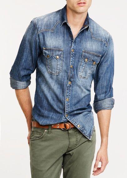 c67f9098157 Camisa slim-fit denim vintage - Hombre in 2019   mens fashion   Denim shirt  men, Jean shirt men, Denim shirt