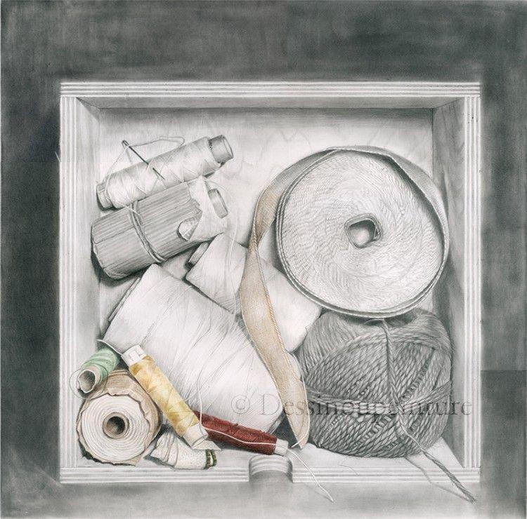 Boite à ficelles dessin graphite et crayons de couleur - Isabelle Frances