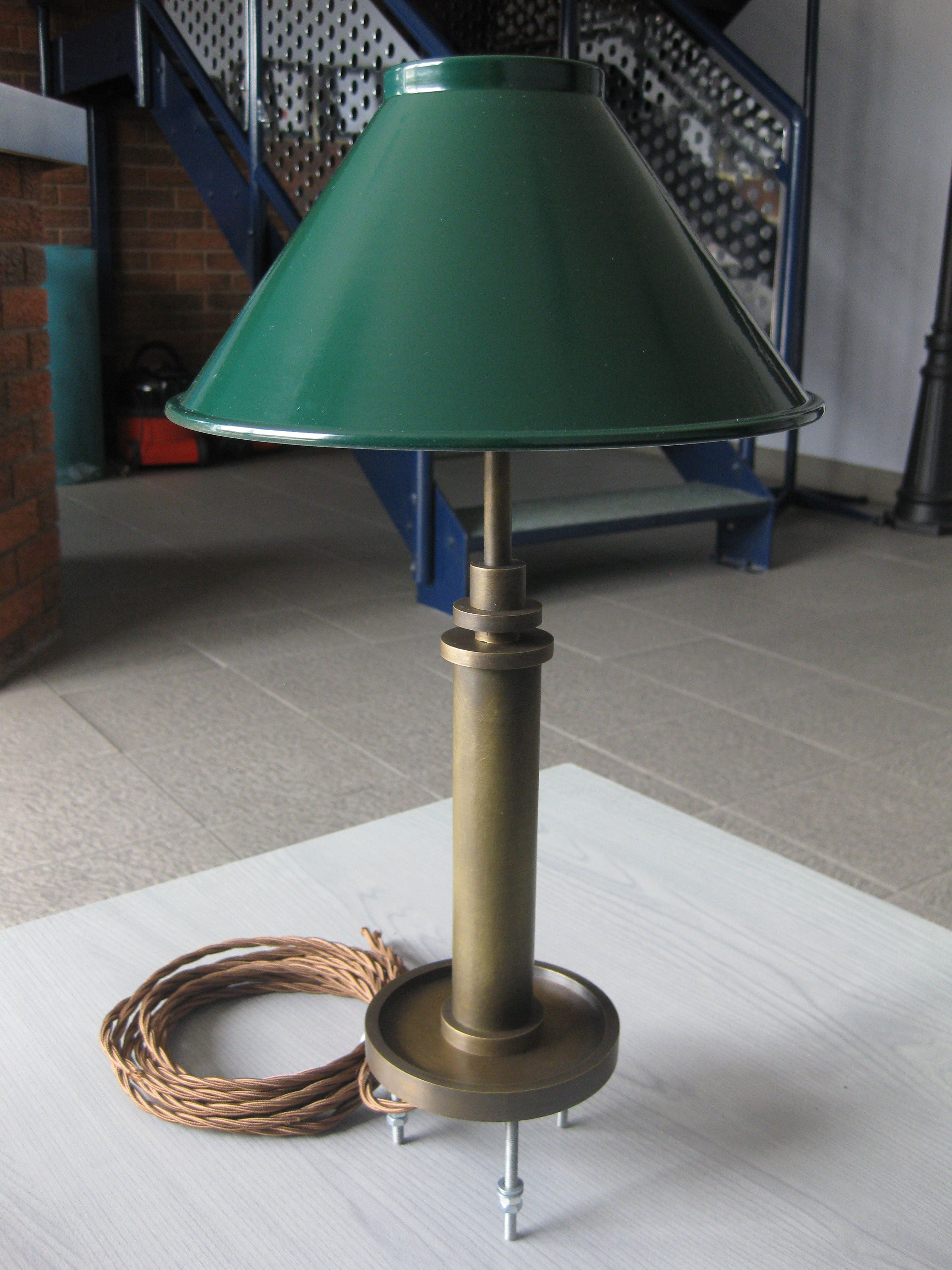 Perfect Metro Lighting Custom Counter Mounted Table Lamp With Green Spun Metal  Coolie Shade Constructed From Brass