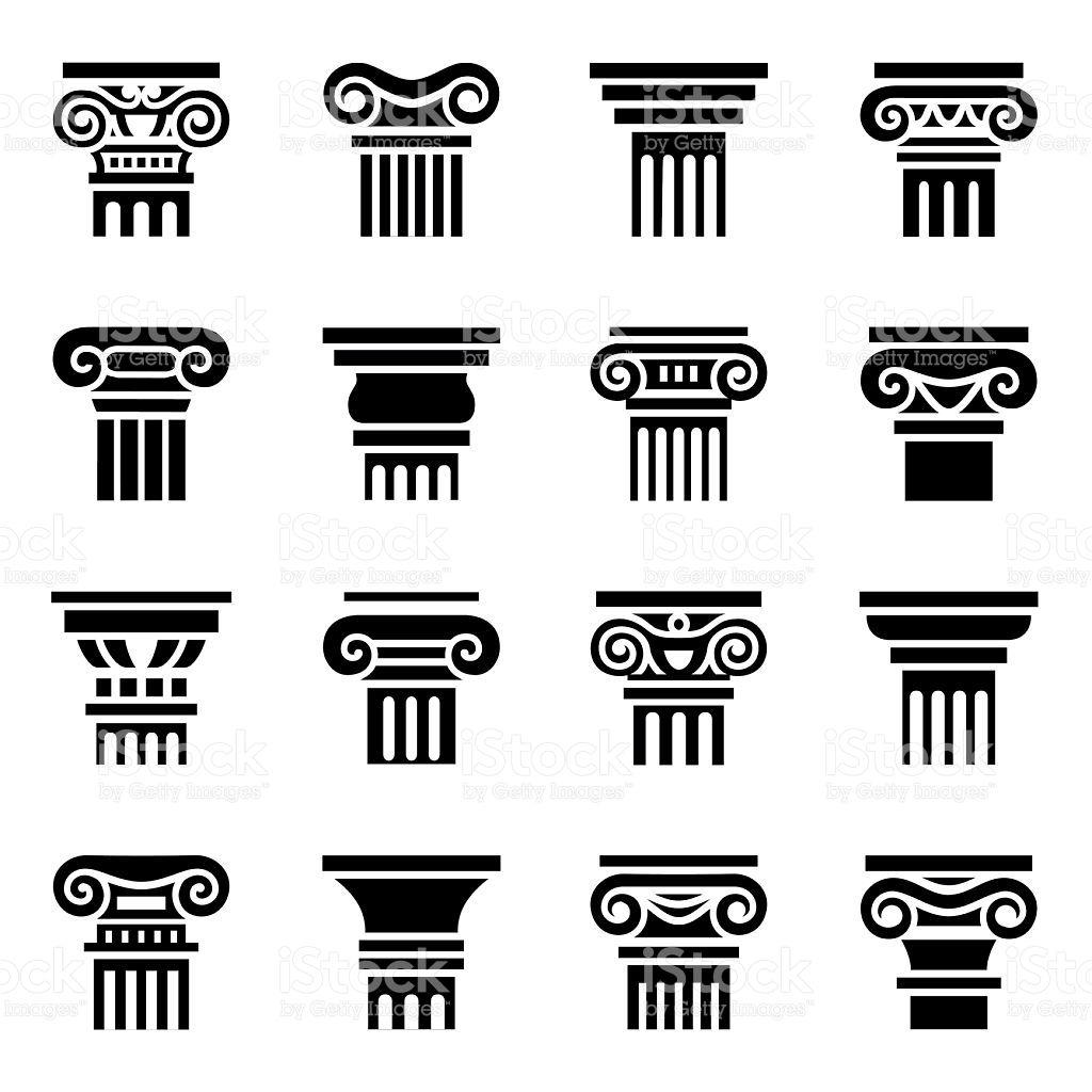 Vector Column Icon Set On White Background