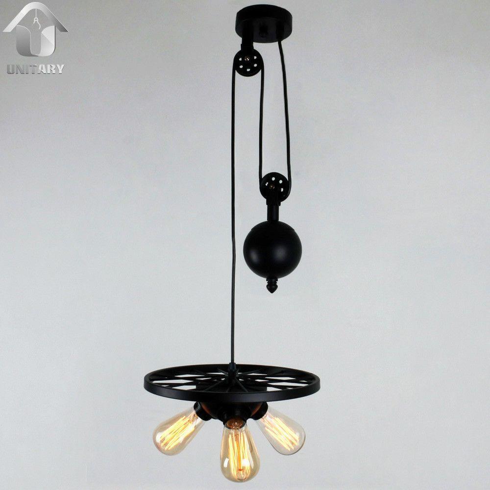 Black Vintage Metal Wheel Hanging Ceiling Pulley Pendant Light With 3 Lights