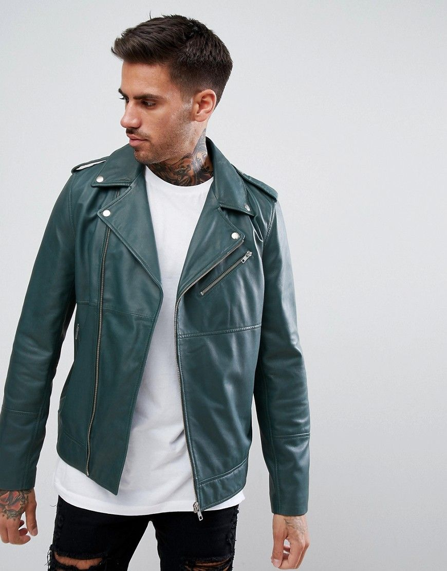 6e94bb044 DESIGN leather asymmetric biker jacket in bottle green | Products ...