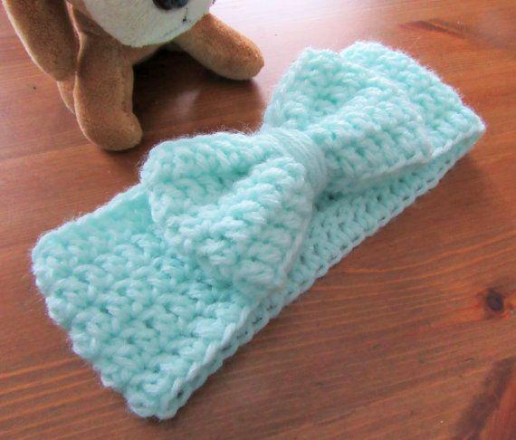 Crochet Baby Headband, Baby Bow Headwrap, Mint Baby Headwrap, Baby ...