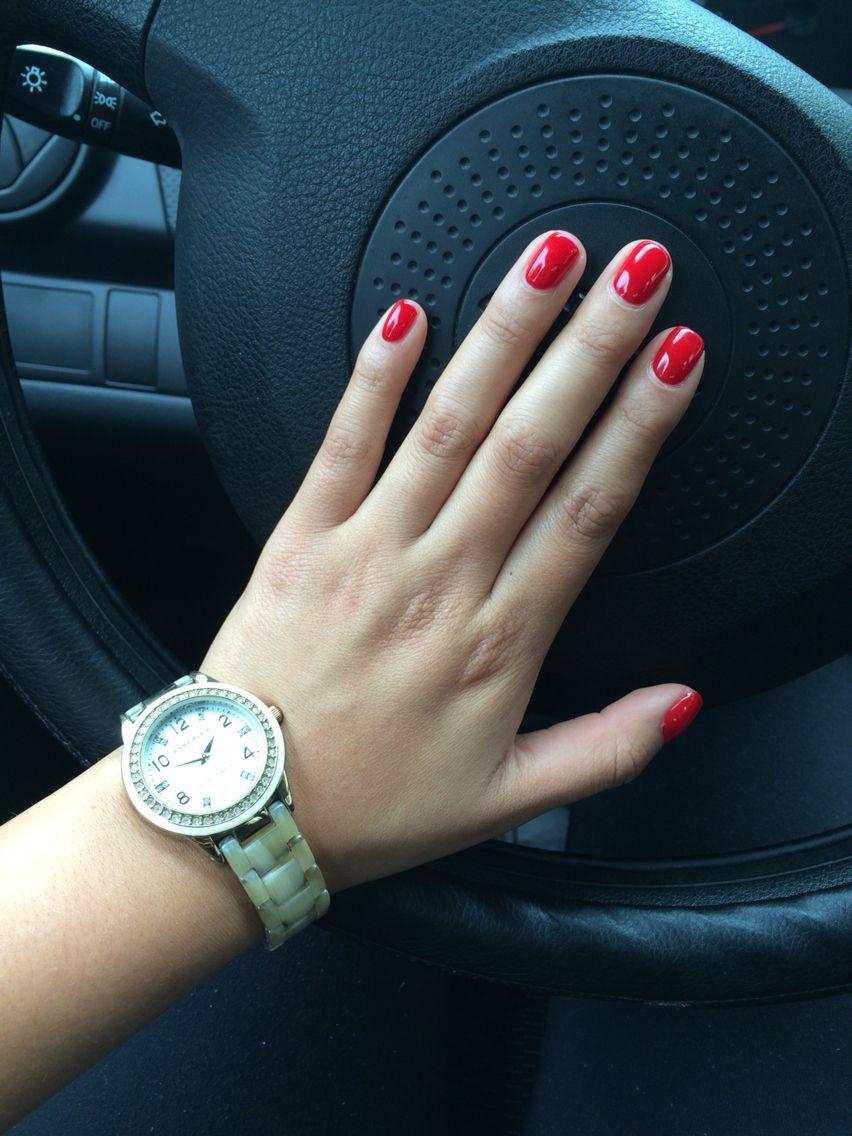 Rojo Cereza Cherry Red Gelish Nails Color Una Acrilicas Disenos De Unas Unas Rojas
